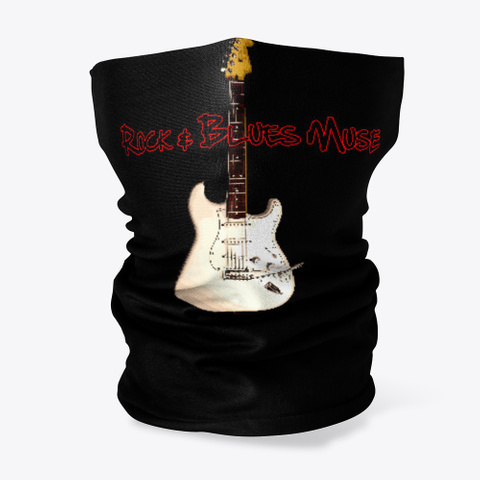 White Guitar With Logo Black T-Shirt Front