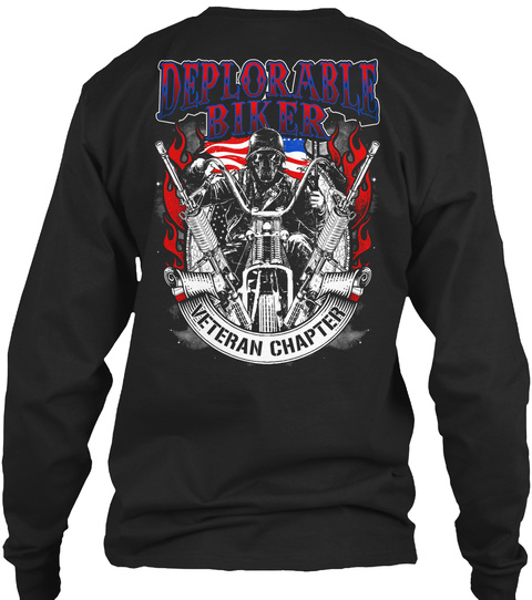 Deplorable Biker Veteran Chapter Black T-Shirt Back