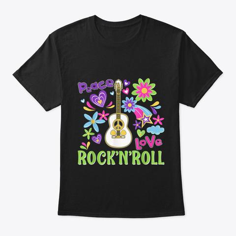 Peace Love Rock N Roll Tshirt Hippie Gui Black T-Shirt Front