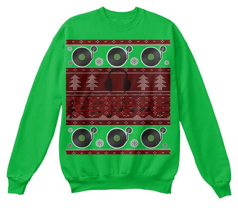 Ugly Christmas Sweater For Dj's   Eu Kelly Green Sweatshirt Front