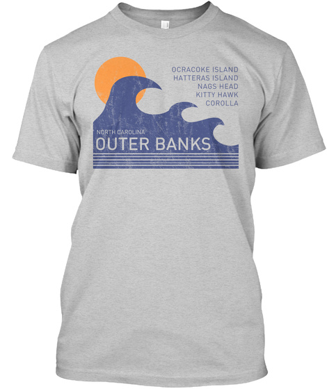 Outer Banks Distressed Waves Light Steel T-Shirt Front