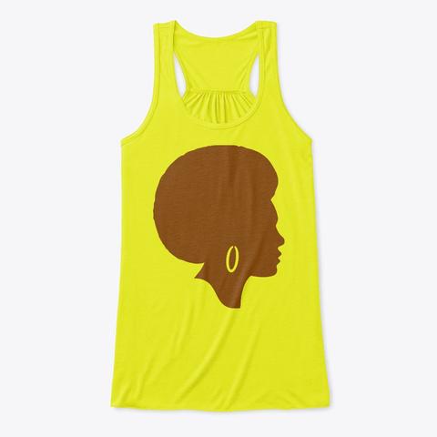 Beautiful Afro Queen Casual Tank Top! Neon Yellow T-Shirt Front