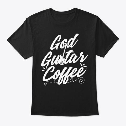 God Guitar Coffee Black T-Shirt Front