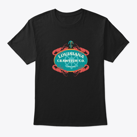Crawfish Co Retro Louisiana Cajun Seafoo Black T-Shirt Front