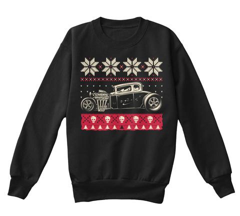 Kids Hot Rod Christmas Black T-Shirt Front