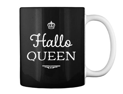 Hallo Queen Halloween Mug Black T-Shirt Back