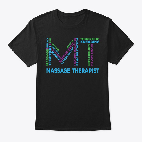 Massage Therapist Gift Word Cloud Black T-Shirt Front