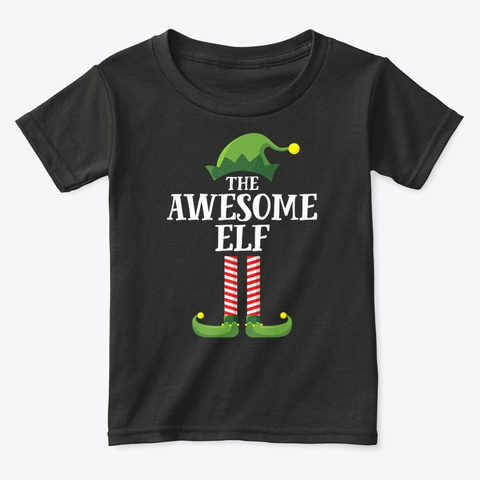 Awesome Elf Matching Family Group Christ Black T-Shirt Front