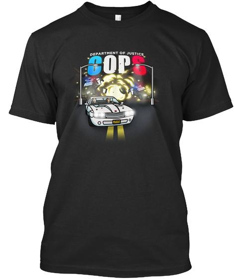 Department Of Justice Cops Black T-Shirt Front