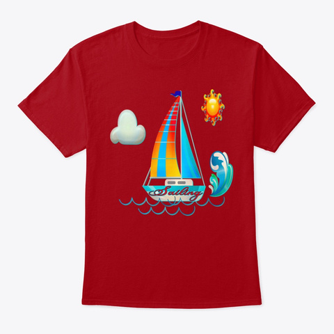 Nautical Sailing Tee S Hirt Deep Red T-Shirt Front