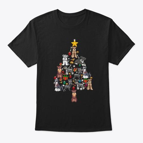 Schnauzer Christmas Tree Shirt Funny Xma Black T-Shirt Front