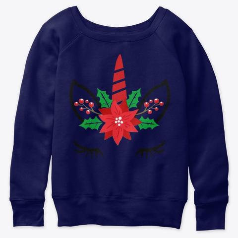 Unicorn Face Christmas Sweater T Shirt Navy  T-Shirt Front