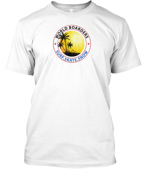 World Boarders   Sunrise Apparel  White T-Shirt Front