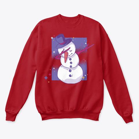 Christmas Dabbing Snowman Deep Red  T-Shirt Front