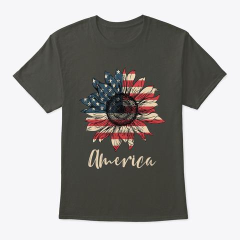 America Sunflower Flag 4 Th July Americ  Smoke Gray T-Shirt Front