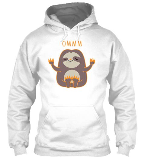 Yoga Sloth White T-Shirt Front
