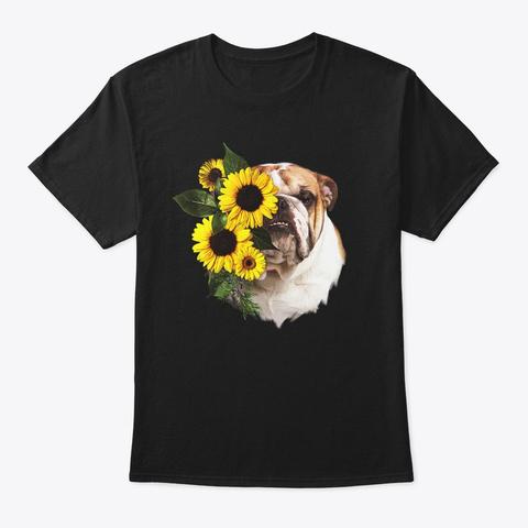 Comic Sunflower English Bulldog Gift Black T-Shirt Front