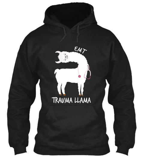 Emt Trauma Llama Black T-Shirt Front