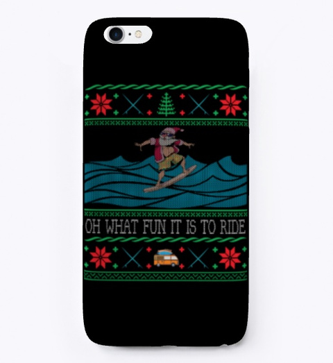 Surfing Santa Hawaiian Ugly Christmas Black Camiseta Front