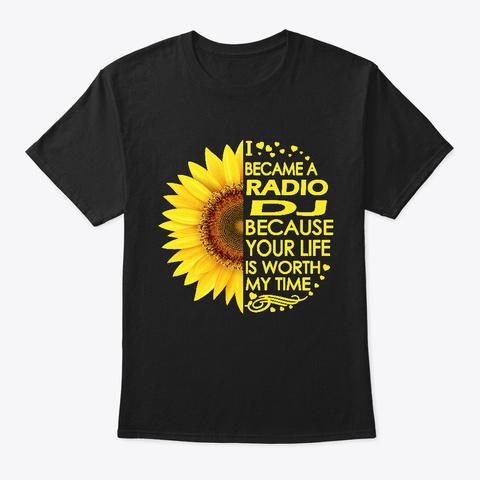 Radio Dj Sunflower Black T-Shirt Front