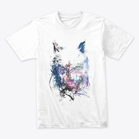 Space Wolf White T-Shirt Front