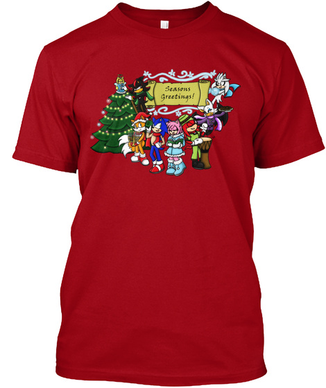 Seasons Greetings! Deep Red T-Shirt Front