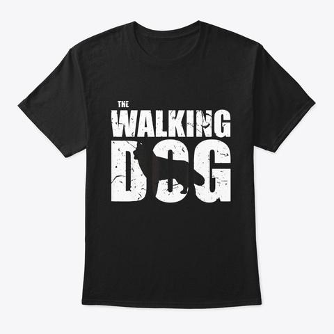 The Walking Siberian Husky Dog Lovers Black T-Shirt Front