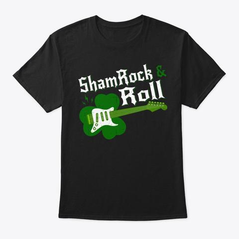St Pats Day Irish Shamrock Roll Guitar Black T-Shirt Front