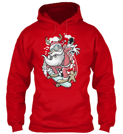 Santa Claus Funny Hoodies Red T-Shirt Front