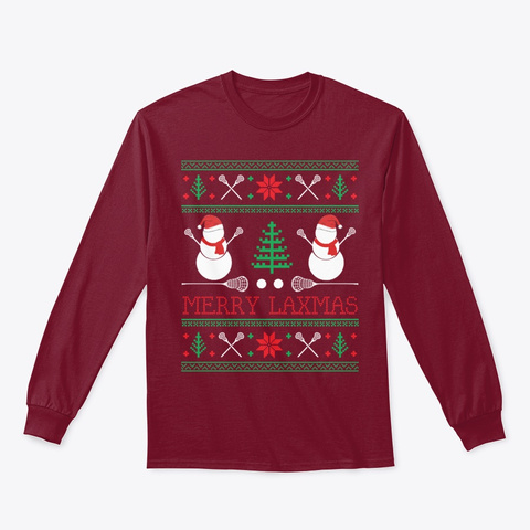 Christmas Lacrosse Lax Player Ugly  Cardinal Red T-Shirt Front