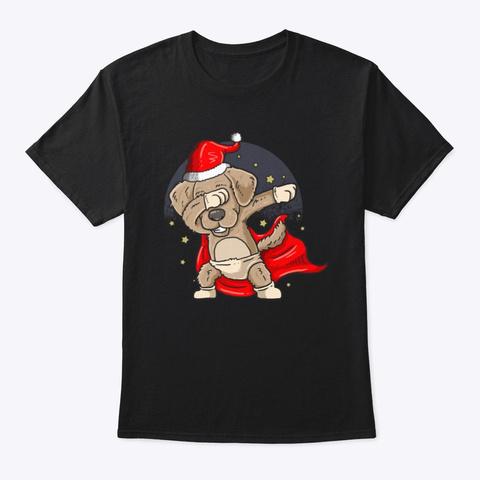 Christmas Dog Dabbing Black T-Shirt Front