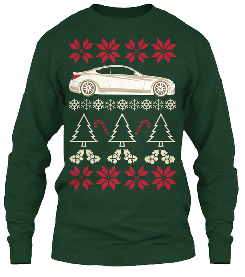 Gen Coupe   Christmas Long Sleeve Tee Forest Green T-Shirt Front