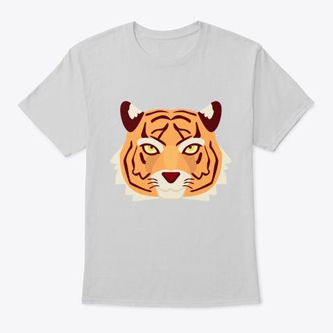 Cool Flat Tiger Head  Light Steel T-Shirt Front