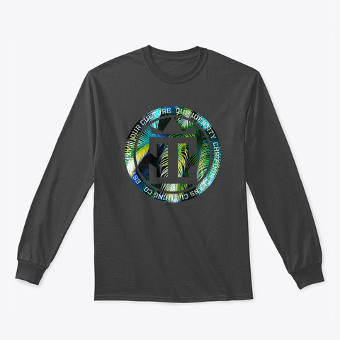 Blended Blue And Yellow Palm Leaf  Dark Heather T-Shirt Front