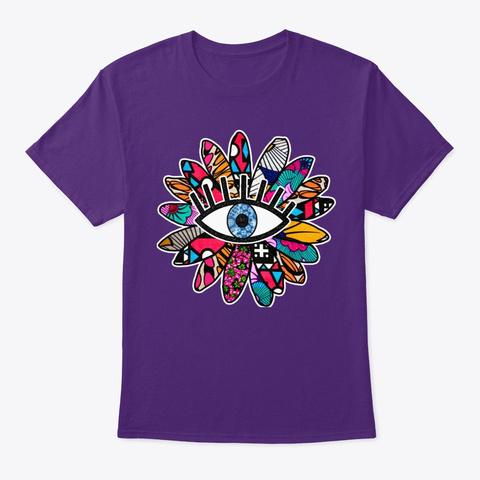 Greek Evil Eye Groovy Flower  Purple T-Shirt Front