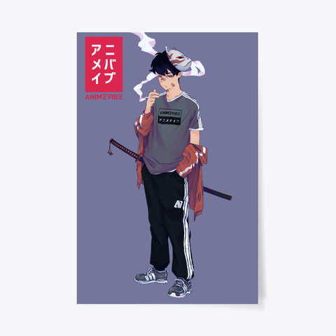 Anime Vibe Poster White T-Shirt Front