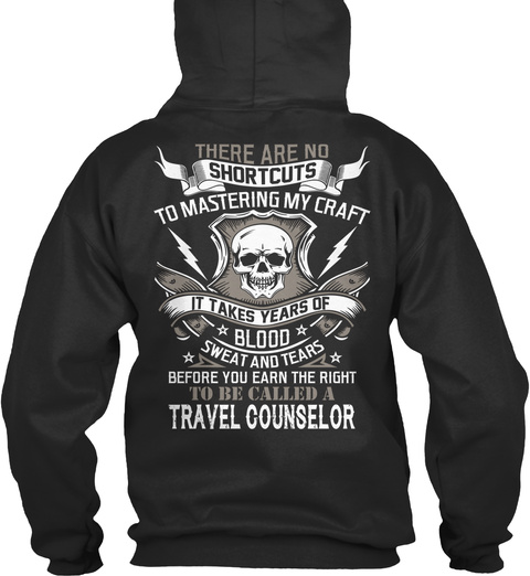 Travel Counselor Jet Black T-Shirt Back