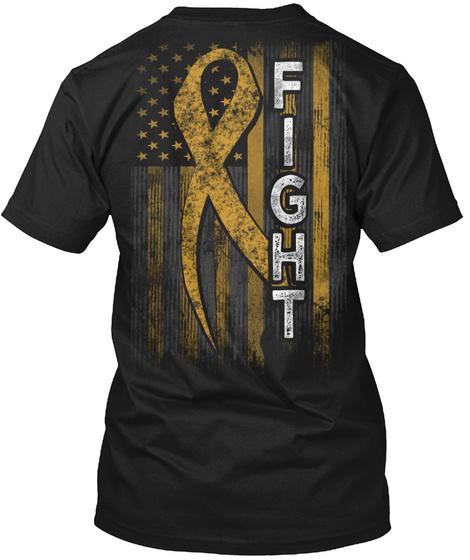 Fight Childhood Cancer Awareness Black T-Shirt Back