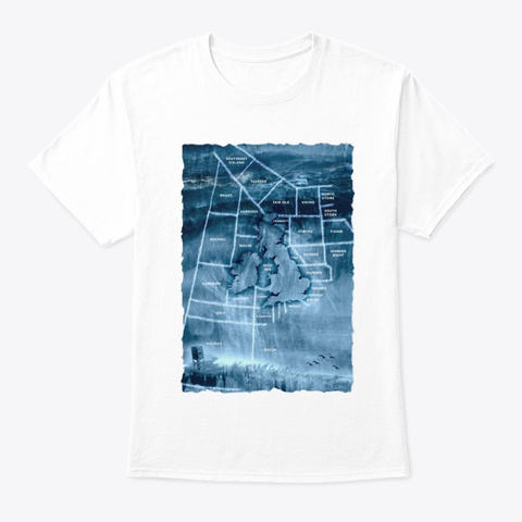 Shipping Forecast Areas White T-Shirt Front