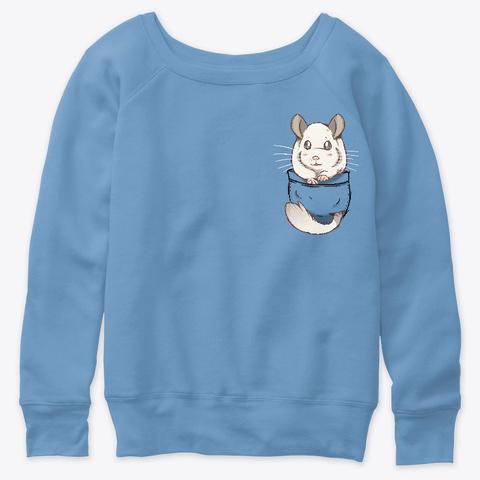 Pocket Cute White Fur Chinchilla Blue Triblend  T-Shirt Front