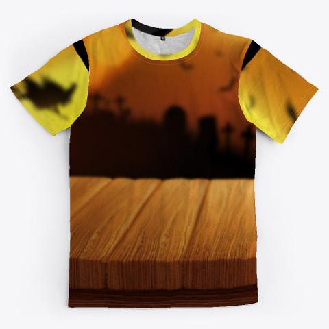 Halloween Pumpkin Wooden Black T-Shirt Front