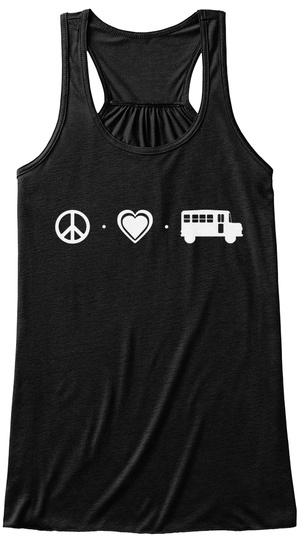 Peace   Love   Bus Black Women's Tank Top Front