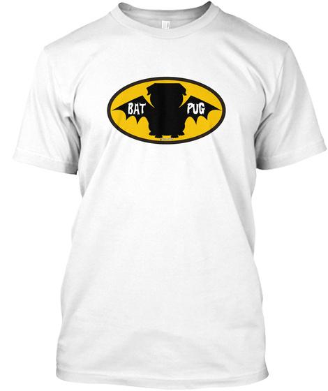 Bat Pug White T-Shirt Front