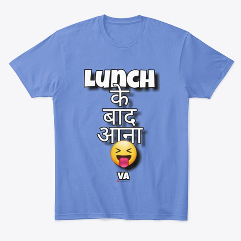 Banker's Lunch Time Heathered Royal  T-Shirt Front