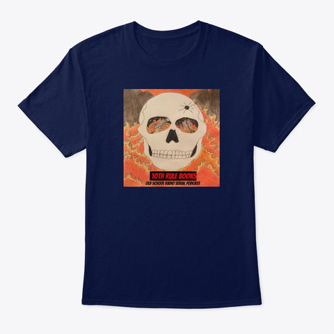 10th Rule Books  Podcast Skull Navy T-Shirt Front