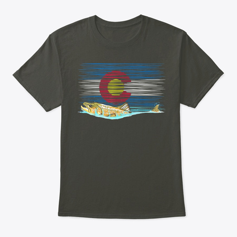 Brown Trout Colorado Flag Fly Fishing Smoke Gray T-Shirt Front