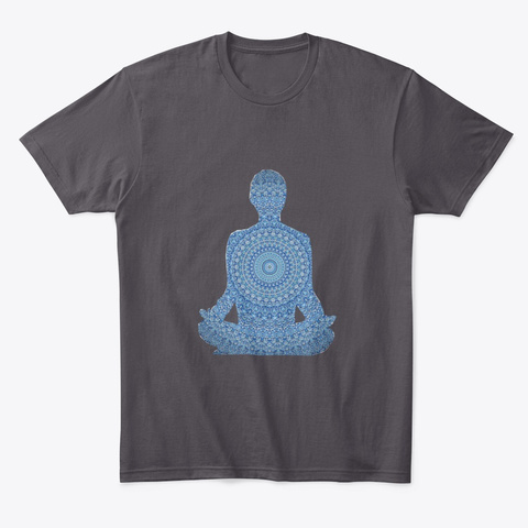 Mandala Meditation Heathered Charcoal  T-Shirt Front