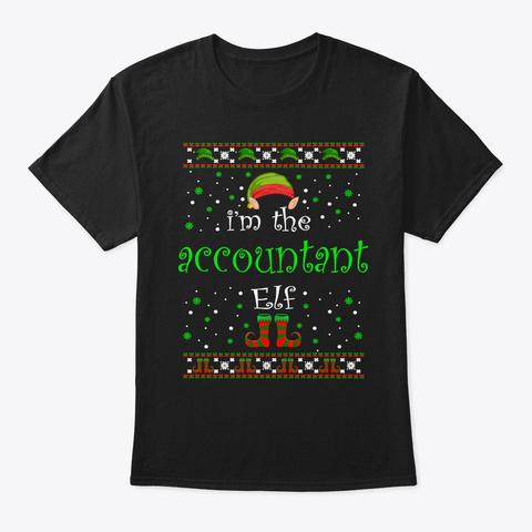 Accountant Elf Gift Ugly Christmas Black T-Shirt Front