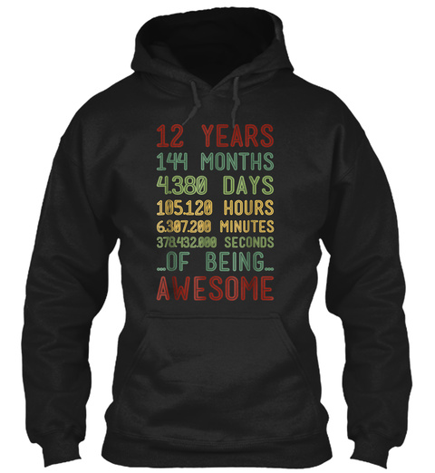 Retro Vintage 12 Years Old Being Awesome Black T-Shirt Front