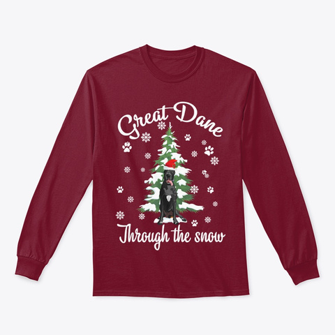 Great Dane Through The Snow Christmas Cardinal Red T-Shirt Front